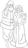 Santa And Mrs Claus Waving Hands For Christmas Col. Vector illustration coloring page of Santa and Mrs Claus standing hugged and waving their hands for Christmas vector illustration