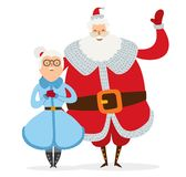 Santa and Mrs Claus wife cartoot couple vector. Santa Claus, Missis Claus couple vector illustration Stock Photos