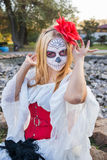 Santa Muerte. The girl in the image of Santa Muerte Royalty Free Stock Image