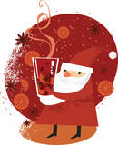 Santa with mulled wine Stock Images