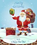 Santa na dachu z torbą prezenty Kartka bożonarodzeniowa plakata półdupki Obrazy Royalty Free