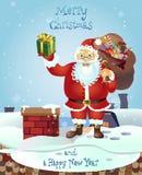 Santa na dachu z torbą prezenty Kartka bożonarodzeniowa plakata sztandar również zwrócić corel ilustracji wektora Fotografia Royalty Free
