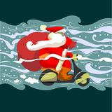 Santa na moped Klaus Zdjęcia Stock