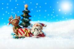 Santa na neve Imagem de Stock Royalty Free