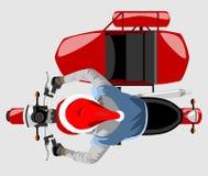 Santa na opinião superior da motocicleta clássica do side-car isolou o vect da cor Imagem de Stock Royalty Free