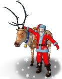 Santa near to a reindeer Stock Image