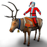 Santa nearby astride a reindeer Royalty Free Stock Photos