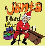 Santa Need Beer. Santa Claus, sitting and drinking beer, marry Christmas, beer,  art, santa claus Stock Photos