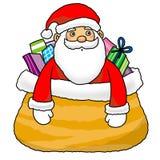 Santa nel sacchetto del regalo illustrazione vettoriale