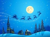 Santa nella notte di natale di inverno Immagini Stock Libere da Diritti