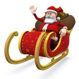 Santa nella sua slitta - con il percorso di residuo della potatura meccanica Fotografia Stock Libera da Diritti