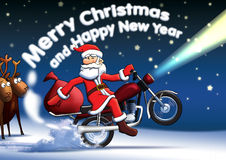Santa new year cards. Santa Claus on a motorbike ready hydrating gifts, deer are now out of work Stock Images