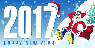 Santa new year cards 2017. Happy New Year xmas 2017 greeting card with funny Santa Claus and greeting text. Santa new year cards 2017 Stock Photos