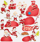Santa new year holiday. There is a santa on the sledge Stock Photo