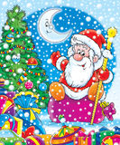 Santa with New Year's gifts. Illustration for children.  New Year. Christmas. Santa with New Year's gifts Royalty Free Stock Photo