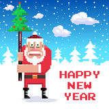 Santa_1. Santa with new year tree. Pixel-art stock illustration