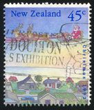 Santa. NEW ZEALAND - CIRCA 1992: stamp printed by New Zealand, shows Christmas, Two reindeer pulling Santa's sleigh, circa 1992 stock image