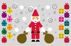 Santa, nieve y regalos stock de ilustración