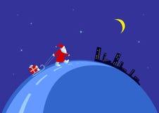 Santa on the night of Christmas Stock Image