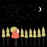 Santa in the night forest. Royalty Free Stock Photo