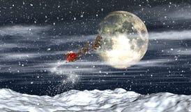 Santa in the night sky Stock Photography