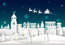Santa no céu noturno no fundo do inverno da arte do papel da cidade da cidade Chr ilustração royalty free