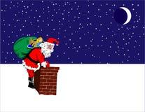 Santa no telhado ilustração stock