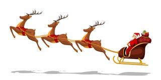 Santa no trenó com cervos ilustração stock