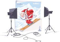 Santa o esquiador Imagens de Stock Royalty Free