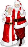 Santa och Fru Claus våg händer för jul stock illustrationer