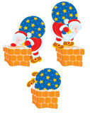 Santa och lampglas royaltyfri illustrationer