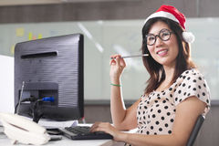 Santa office working Royalty Free Stock Image