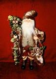 Santa old fashion. Gold old fashion Santa holding staff and sign Royalty Free Stock Images