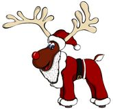 Santa Outfit Reindeer. Cartoon reindeer with Santa outfit Royalty Free Stock Image