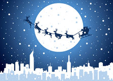 Santa over city Royalty Free Stock Image