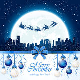 Santa over the city Royalty Free Stock Image
