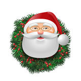 Santa over evergreen holiday wreath. Santa Claus over evergreen holiday wreath decorated with red berries. Funny face in eyeglasses. Vector  illustration Stock Photo