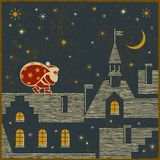 Santa på taket Royaltyfri Fotografi