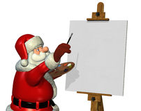 Santa Painting 2. Santa is about to begin painting on a blank canvas - 3D render Royalty Free Stock Photos
