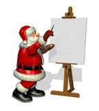 Santa Painting. A cartoon Santa is about to paint on a blank canvas - 3D render Stock Image
