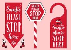 Santa para por favor aqui o sinal, o gancho de porta, o chapéu e as peúgas, elementos do projeto do vetor para cartões de Natal ilustração royalty free