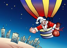 Santa on parachute vector illustration