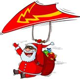 Santa on a paraplane Royalty Free Stock Images