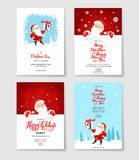 Santa party card set. Cartoon character Santa Claus on winter holiday invitation. Template Christmas sample for banners, advertising, leaflet, cards, invitation Stock Photo