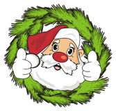 Santa peek up from wreath. Funny face of santa claus peek up from wreath and show gesture cool Royalty Free Stock Photos