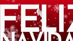 Santa peeking around feliz navidad on festive background