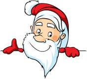 Santa peeking around a white surface - vector Stock Image