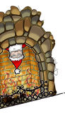 Santa peeking upside-down from fireplace Royalty Free Stock Photo