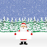 Santa peeping from behind a big white banner Royalty Free Stock Photography