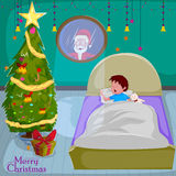 Santa peeping from window in Merry Christmas holiday greeting card background Royalty Free Stock Photography